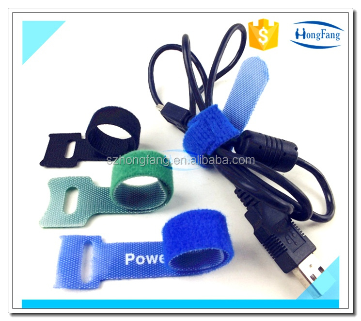 Blue self-gripping USB cable ties