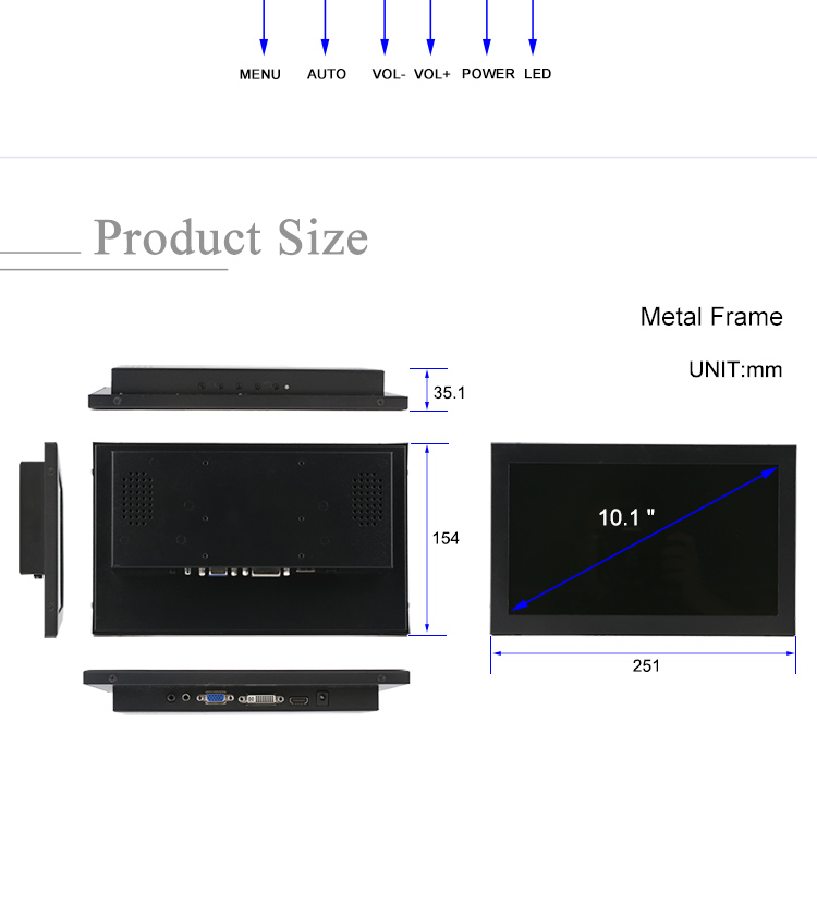 10 inch HD-MI VGA DVI DC 12v automatically identify video input mode industrial grade led computer monitor