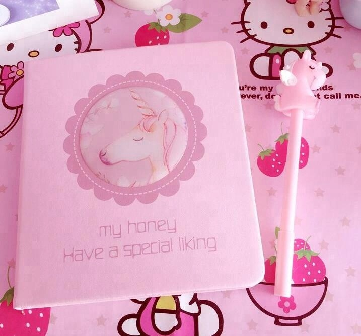 3D silicon unicorn pink girl book and <strong>pen</strong> for student use