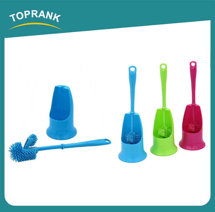 Toprank New Design Duplex Strong Decontamination Plastic TPR Soft Bathroom Cleaning Toilet Bowl Brush Set With Toilet Brush
