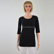 Women Cotton O neck T Shirt blank spandex 3/4 Sleeve basic T-shirt