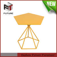 cheap polygonal metal side table for living room furniture