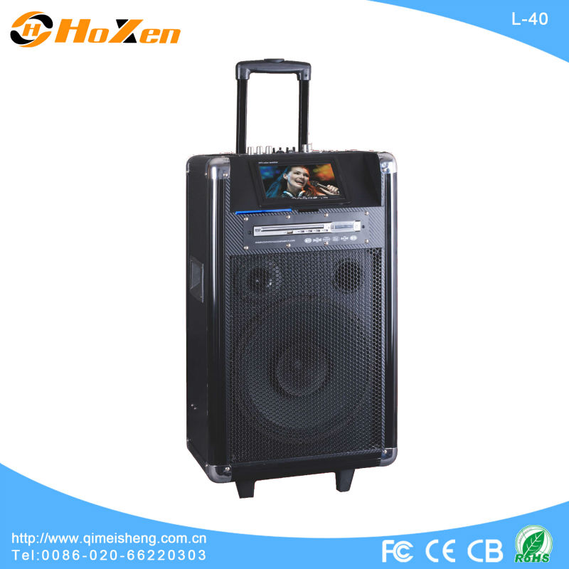 Professional portable speaker for party /portable usb sd speaker with handle /DVD player,big TV screen