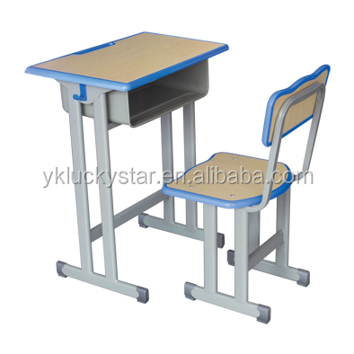 Fixed Wooden Board with Plastic Banding Single School Desk and Chair for Students School Furniture kids furniture