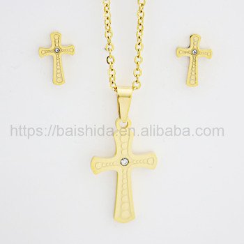 18k plated cross religious special design jewelry set with good quality