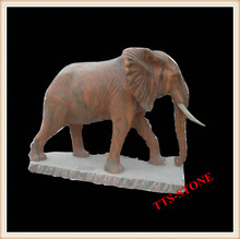 Hand-Carved Natural Stone Granite Elephant Statues
