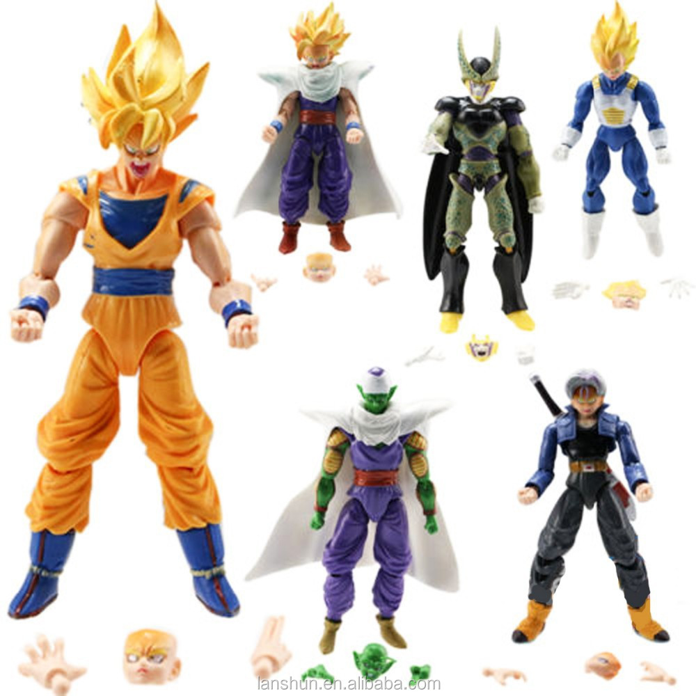 6pcs Dragonball Z Dragon Ball DBZ Goku Piccolo Action Figure Toy Loose