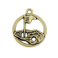 Antique Bronze Plated Golf Green With 18th Hole Flag Charm
