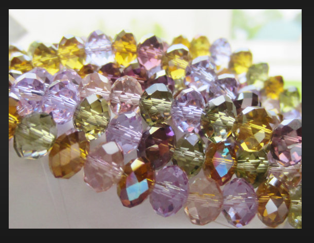 decorative jewelry crystal rondelle semi round faceted beads