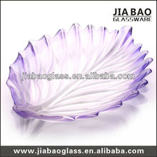400mm purple colored and frosted glass fruit plate,leaf shape glass plate,frosted glass plate GB1718/PDS2