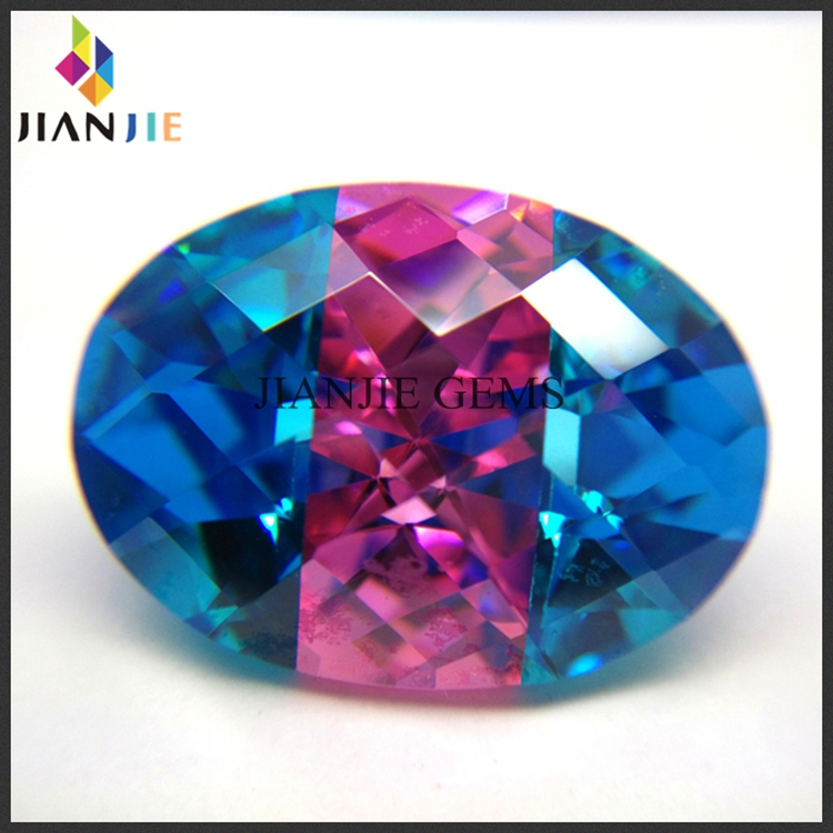 Factory Wholesale Price Aqua Blue and Rose Three Mixed Colors CZ Synthetic Gem Oval Cubic Zirconia Stone