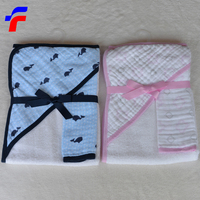 Wholesale Solid Organic 100% cotton terry towel with muslin hood
