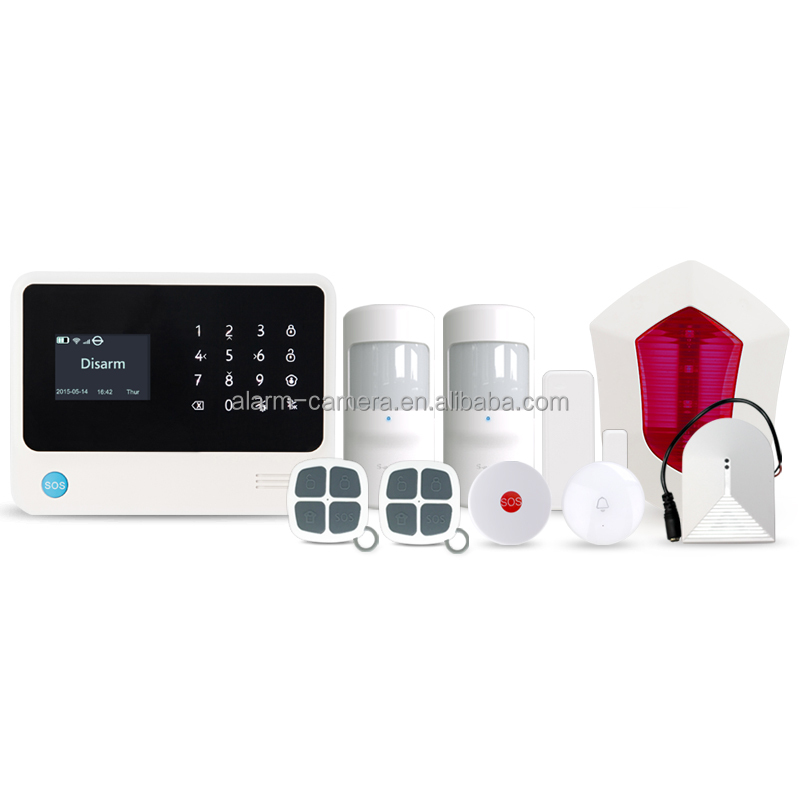 Smart home alarm system support 100 IP Cameras!TCP/IP cloud Wireless WIFI/GPRS home security system support CID function