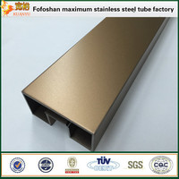 pvd plating color rose gush welded rectangular slotted tube inox pipe for glass fitting