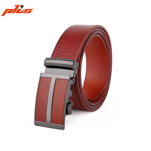 38mm Brown Mens Automatic Leather Covered Buckle Genuine Italian Leather Belt