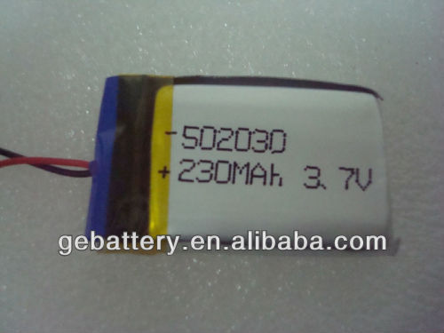Small size with high capacity 3.7v 230mah li-polymer battery for camera