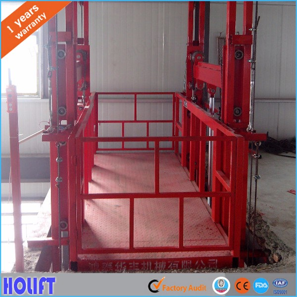 Hydraulic Residential Warehouse Vertical Guide Rail Cargo Lift /Goods Lift Price