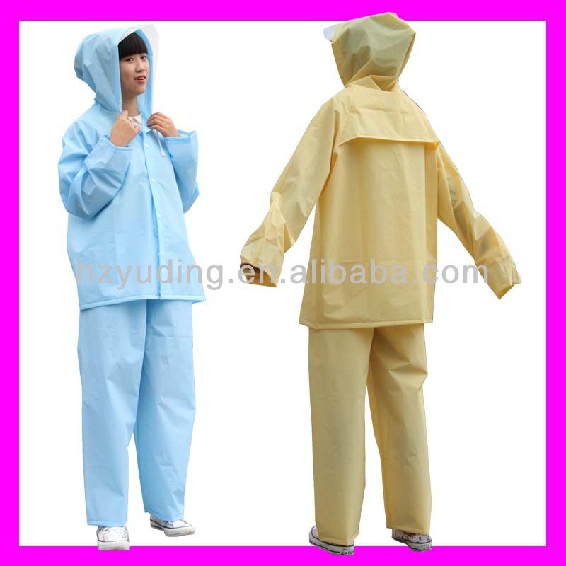 Creative customize hooded longplastic rain suits for adults