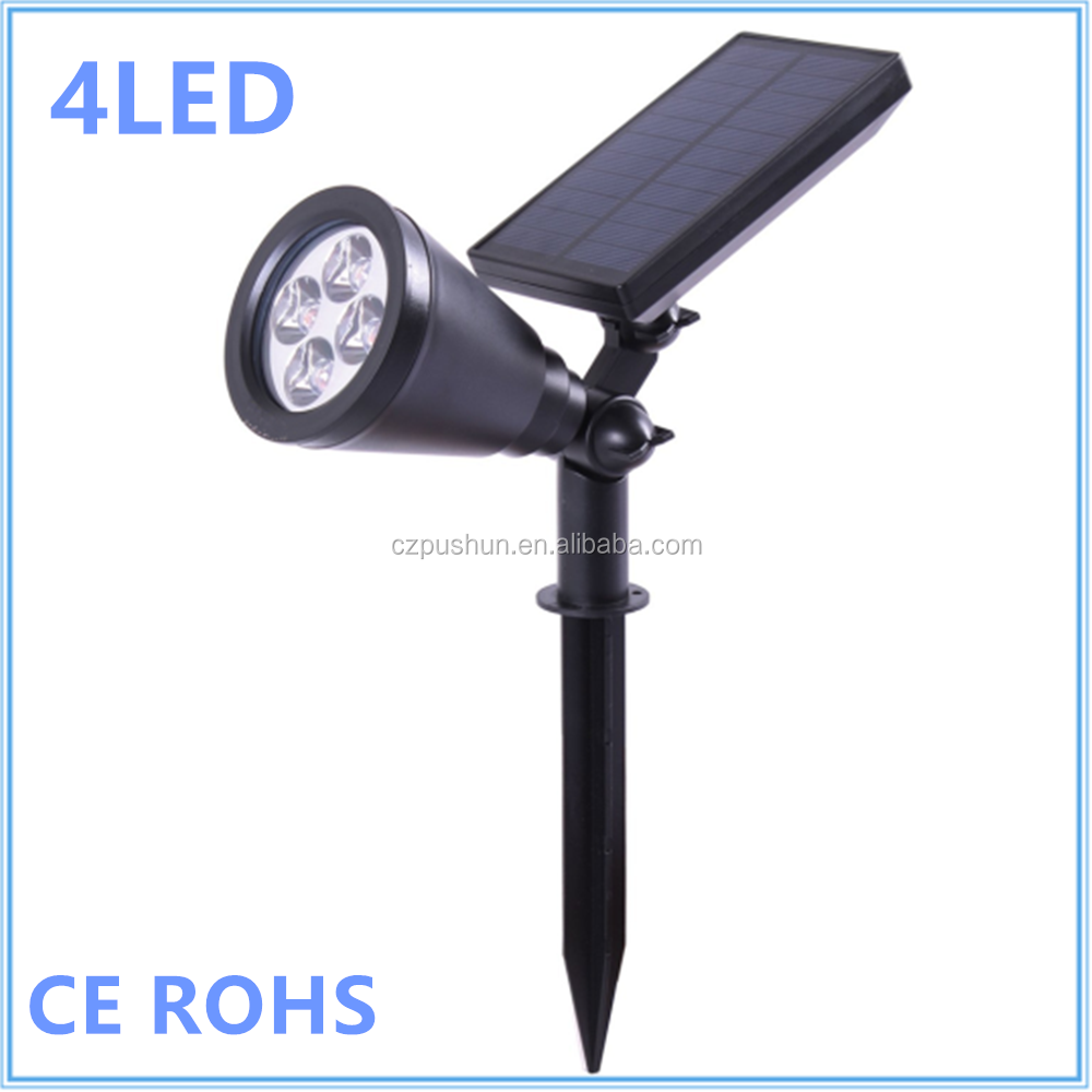 Solar Spotlights, Warm Light Adjustable 4 LED Wall / Landscape Solar Lights with Automatic On/Off Sensor