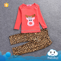 Feiming wholesale fall kids christmas clothing set children cute deer printed design leopard clothes set design