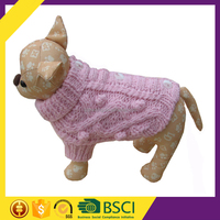 Hot Sale Easy Wear Comfortable Button Pink Hand Knit China's Dog Clothes