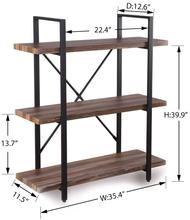 3-Tier Industrial Bookcase and Book <strong>Shelves</strong> of Metal Bookshelves for living room