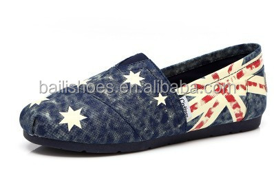 wholesale high qualty fashion star&flag pattern Espadrilles casual canvas woman shoe