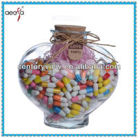 Decoration Fashion Heart Shaped Glass Bottle With Cork For Wishing