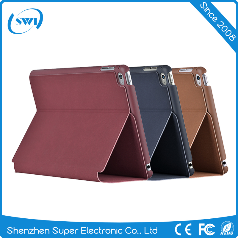 2016 Ultra Slim Luxury Leather Back Cover Flip Case for iPad mini 4 Smart Cover