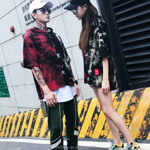 Factory wholesale new design men's/ Women's hooded short sleeves color matching cotton t-shirts