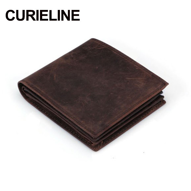 China Supplier OEM Service Handmade Mini Safe Crazy Horse Leather Wallet