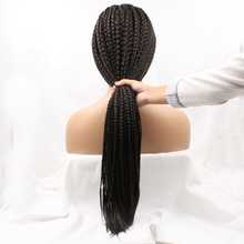 African American black women synthetic lace front box braid wig free shipping