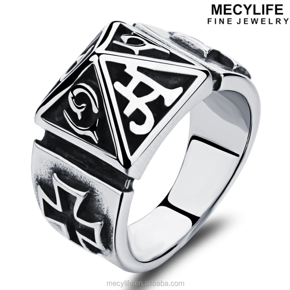 MECYLIFE high quality stainless steel pyramid man's knights templar ring