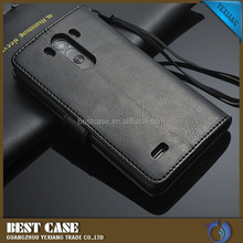 High quality wallet card holder leather case for lg g3 d858 cell phone cover