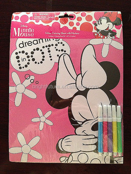 Minnie Mouse : Glitter Coloring Sheet with Markers