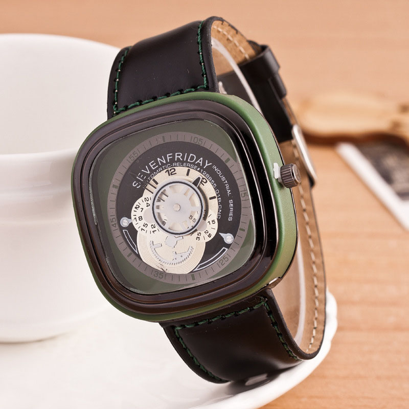 Square shaped man watch genuine leather watch strap wathces