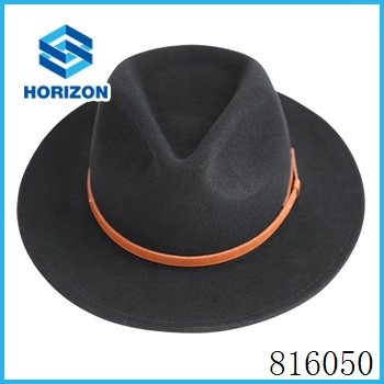 High quality gentleman hat with blaze orange belt decoration gentleman hats