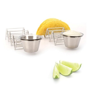 Best Selling New Product 3 Hard Taco Holder Stainless Steel Taco Holder Stand With Salsa Guacamole Cup