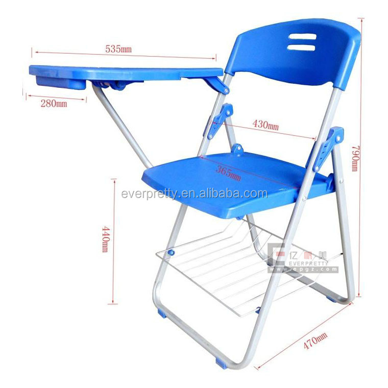 Stackable plastic metal folding chair with writing table, folding plastic chair