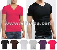 Slim Fit V-Neck T-shirts Men & Women Fashion Solid Color Or with Printing