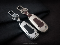 Strong Quality Car key chain bag holder for ford 2013 new mondeo Edge Mustang metal leather cover smart car key case