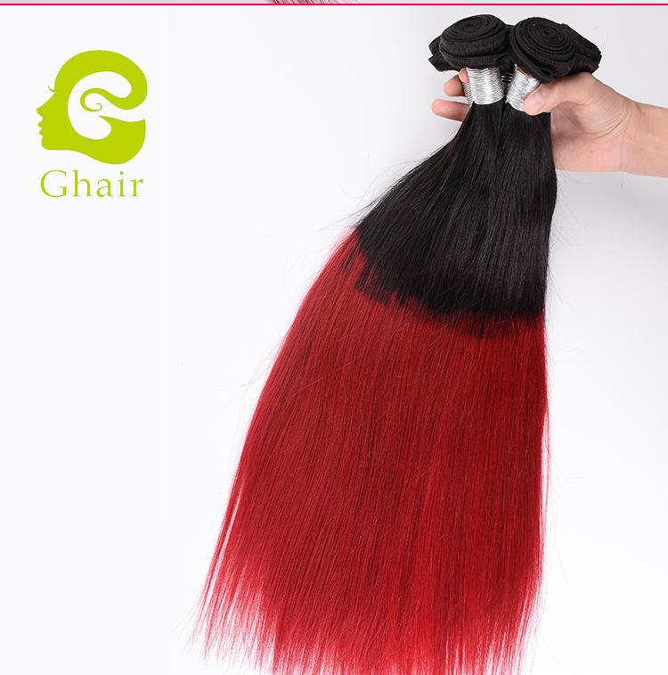 2017 New Fashion Virgin Ombre 1B Red Hair Bundles Malaysian Human Hair Ombre Silky Straight Wave Hair Extension