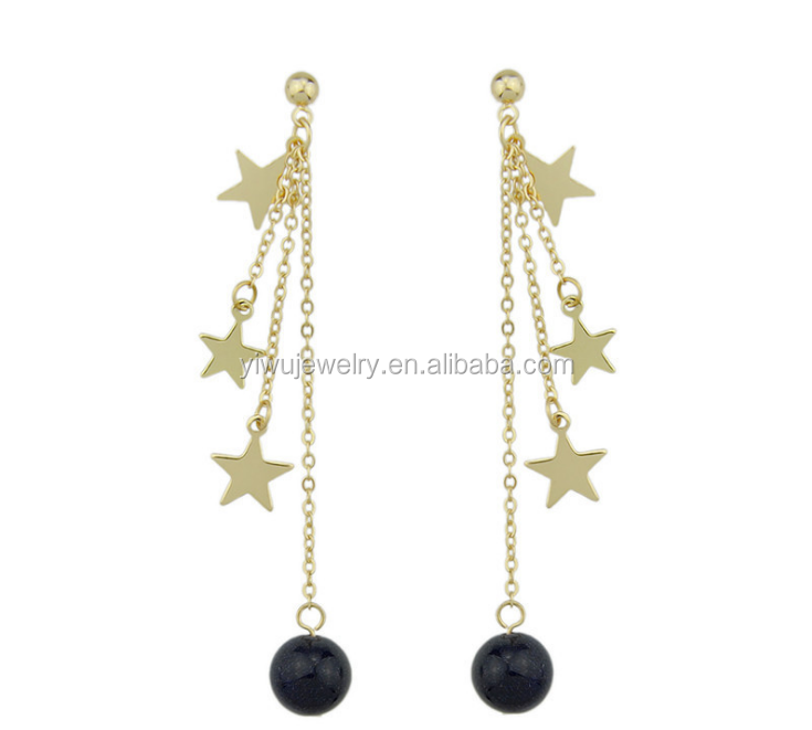 E53-<strong>097</strong> original design women fashion accessories gold three stars black beads hanging earrings