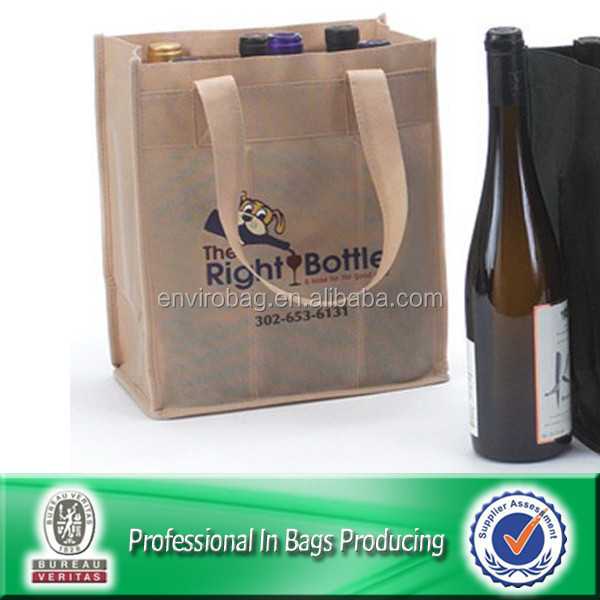 Lead Free Non Woven Reusable Divided Wine Tote Bag