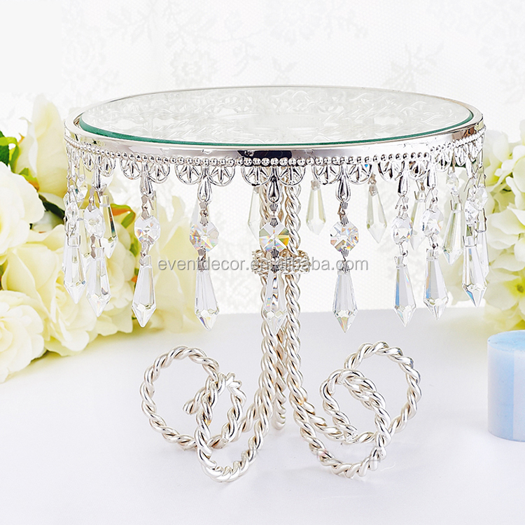 Elegant wedding crystal and metal cake stand for 2016 wholesale wedding decoration