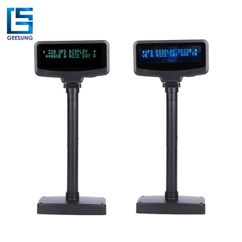 VFD 2 Lines Pos Point Of Sale Display USB Customer Display With Adjustable Pole stand