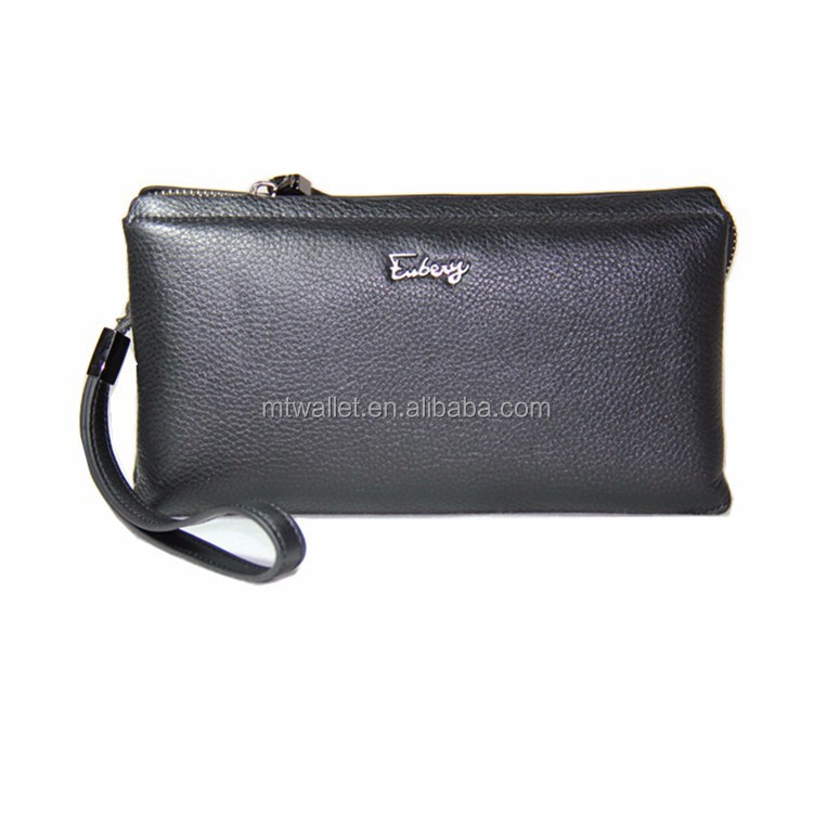 New Brand Genuine Leather Men's Wallet Clutch Carteira Money Bags For Men Black Purse