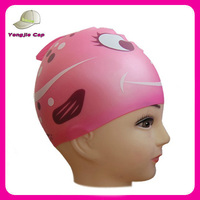 cartoon animal print silicone children swimming cap