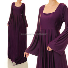 arab clothing oem Square Neckline Pleated Empire Waist Bell Sleeves Jersey Abaya dress
