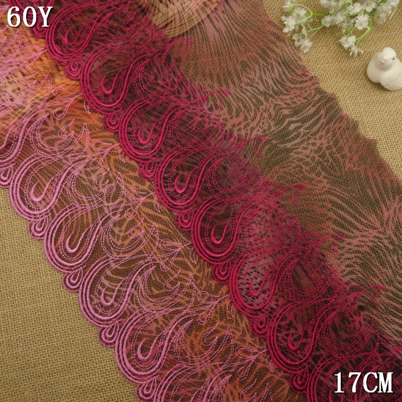 2015 new fancy red color lace embrodery stocklot distributor